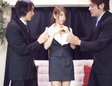 Asian teen Yuuka Minasi nailed by two horny studs picture 14