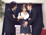Asian teen Yuuka Minasi nailed by two horny studs picture 15