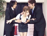 Asian teen Yuuka Minasi nailed by two horny studs picture 9