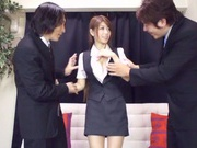 Asian teen Yuuka Minasi nailed by two horny studs
