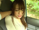 Passionate Asian amateur rubs her slit and sucks cock in a car picture 11