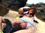 Sexy with Kotomi Asakura outdoors on the beachjapanese sex, asian women}