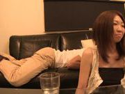 Japanese Av gal deepthroats and gets her trimmed pussy smacked