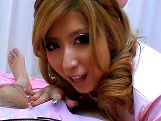 Haru Sakuraba Naughty Asian nurse sucks cock