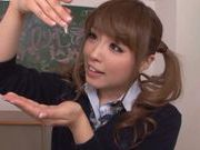 Pigtailed Japanese teen Ayumu Sena gives double handwork