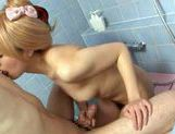 Blonde Japanese chick gets screwed by her lover in a showerhot asian pussy, cute asian}
