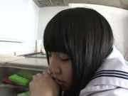 Cute Japanese schoolgirl in black pantyhose rides cock