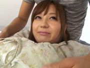 Rina Ishiara pretty Asian doll gets a hard pussy pounding in a threesome