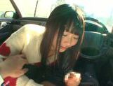Long-haired model Arina Sakira blows her boyfriend in a car picture 11