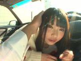 Long-haired model Arina Sakira blows her boyfriend in a car picture 13
