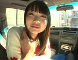 Long-haired model Arina Sakira blows her boyfriend in a car picture 2