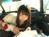 Long-haired model Arina Sakira blows her boyfriend in a car picture 9