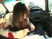 Long-haired model Arina Sakira blows her boyfriend in a car