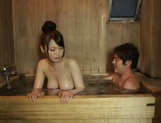 Eri Hosaka gives alluring blowjob in the sauna picture 11