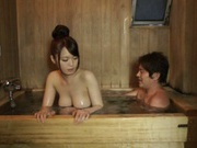 Eri Hosaka gives alluring blowjob in the sauna