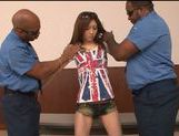 Juicy Japanese teen girl is teased by two black dudes picture 7