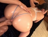Busty babe with bubble ass, Naho Yuumi gets oiled and pounded picture 15