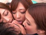 Haruki Satou along her friends are sharing in porn session picture 14