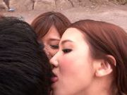 Haruki Satou along her friends are sharing in porn session