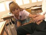 Sugary Japanese teen Megu Hazuki in a kinky group action picture 15
