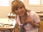 Sugary Japanese teen Megu Hazuki in a kinky group action