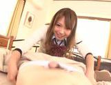 Kinky amateur Ayumu Sena gives a handjob and hot blow picture 2