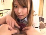 Kinky amateur Ayumu Sena gives a handjob and hot blow picture 3