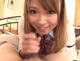 Kinky amateur Ayumu Sena gives a handjob and hot blow picture 4