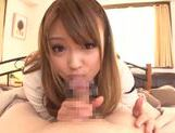Kinky amateur Ayumu Sena gives a handjob and hot blow picture 7
