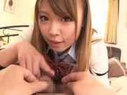 Kinky amateur Ayumu Sena gives a handjob and hot blow