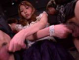 MILF Rin Sakuragi has two guys that she sucks off picture 14
