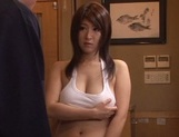 Hot Japanese milf with huge boobs Rina Araki is a fan of titfuck picture 6
