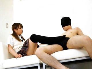 Femdom Teen Schoolgirl Ria Mikotori Gives A Footjob To A Slave