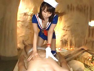 Gorgeous lady in sexy costume Misuzu Kawana deepthroats rod