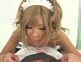 Blonde Japanese AV Model is a maid sucking hick cock picture 3