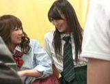 Savory Japanese schoolgirls in a wild group orgy