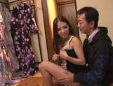 Long-haired Japanese teen Hibiki Ohtsuki makes a footjob picture 7
