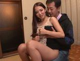Long-haired Japanese teen Hibiki Ohtsuki makes a footjob picture 9