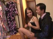 Long-haired Japanese teen Hibiki Ohtsuki makes a footjob