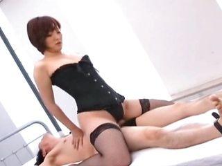 Astonishing Asian milf in sexy costume makes facesitting