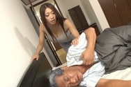 Very pretty Japanese amateur mature lady deepthroats her old loverbig round tits, big boobs