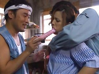 Mature Asian Yurie Matsushima gets nailed in wild threesome