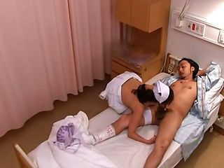 Welcoming nurse strips and fucks her horny patient