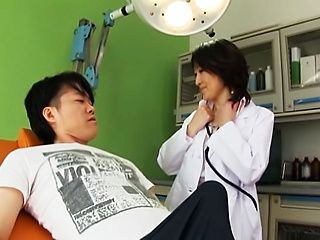 Hungry Japanese nurse goes wild engulfing big dick