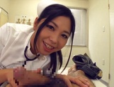 Adorable Japanese nurse Aira Masaki teases cock in handjob picture 11