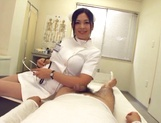 Adorable Japanese nurse Aira Masaki teases cock in handjob picture 14