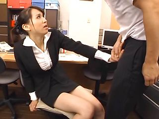 Frisky office girl Ki Hanyuu deepthroats her colleague