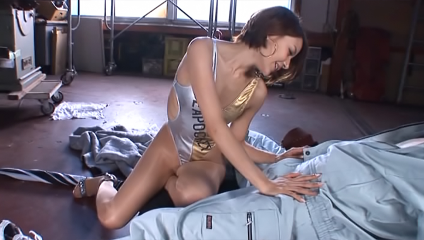 Sexy Japanese race queen Rio deepthroats cock and fondles it with feet