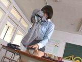 Pretty Asian teacher Airi Suzumura in solo masturbation picture 11