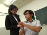 Horny Asian female teacher seduces her male colleague and gets fucked picture 14
